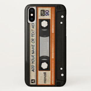 Alte Schul80er DJ-Musik-Kassetten-Band-Muster iPhone XS Hülle