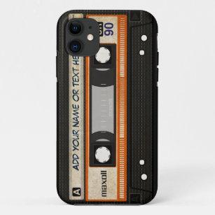 Alte Schul80er DJ-Musik-Kassetten-Band-Muster iPhone 11 Hülle