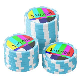 Alte Schule-FernsehPoker, der Chips $10.000 spielt Poker Chips Sets