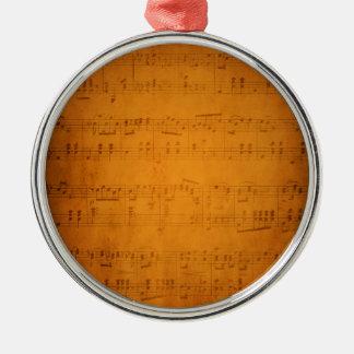 Alte Vintage Blattmusik Silbernes Ornament