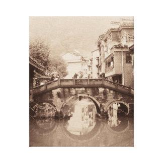 Alte Welteuropäische Brücke auf Leinwandwandkunst Leinwanddruck
