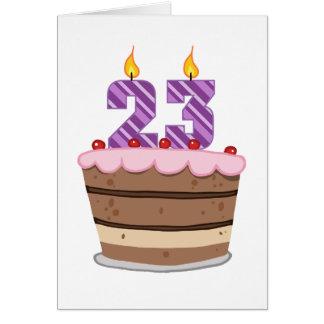Alter 23 auf Geburtstags-Kuchen Grußkarte