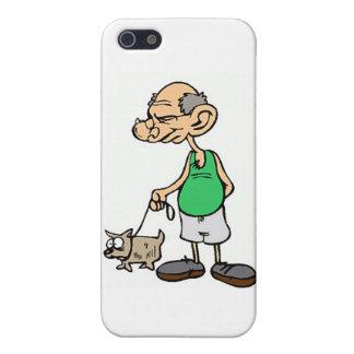 Alter gehender Mann der Hund iPhone 5 Case