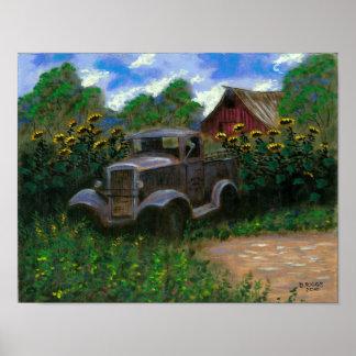Alter LKW mit Sonnenblumen Poster