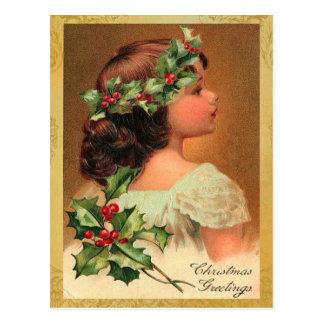 Alter Mode-Stechpalmen-Mädchen-Weihnachtsfeiertag Postkarte