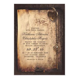 Alter Skeleton Schlüssel-Vintage und gotische Karte