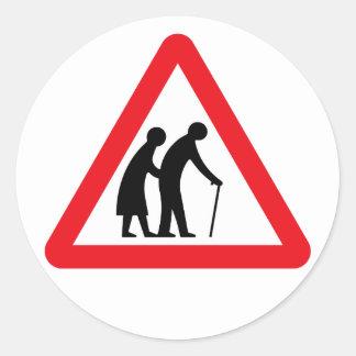 Ältere Menschen (1), Verkehrszeichen, Runder Aufkleber