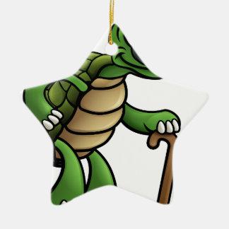 Älterer Schildkröten-Cartoon-Charakter Keramik Stern-Ornament