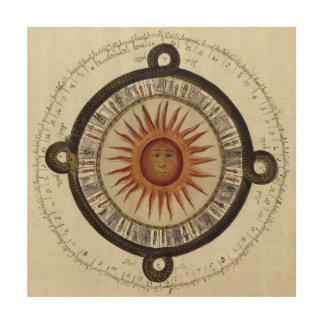 Altes aztekisches Sun-Kalender-Mexiko-Zeichnen Holzdrucke