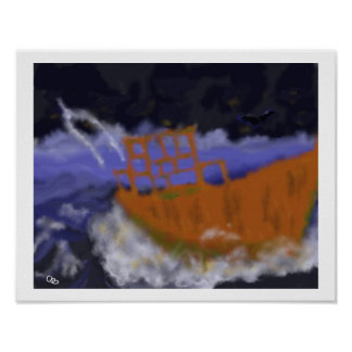 Altes Boot in der Sturm-Kunst Poster