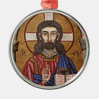 Altes Jesus-Mosaik Silbernes Ornament
