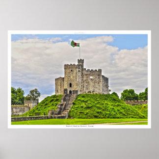 Altes mittelalterliches Cardiff-Schloss, Cardiff, Poster