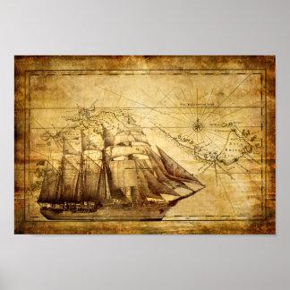 Altes Schiffs-Karten-Plakat Poster