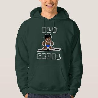 Altes surfendes Skool (gebräunter Mann, WEISS) Hoodie