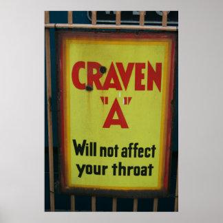 Altes Zigaretten-Zeichen Poster
