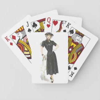 Altmodische Dame Spielkarten