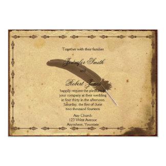 Altmodische Pergament-Spulen-Hochzeits-Einladung 12,7 X 17,8 Cm Einladungskarte