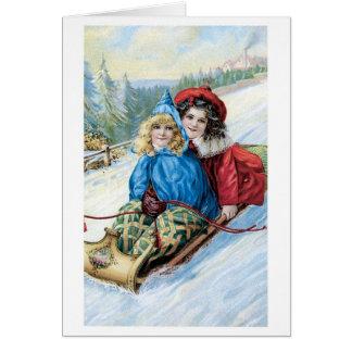 Altmodisches Weihnachten, Sledding Karte