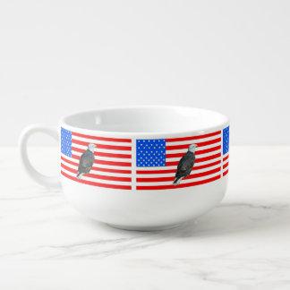 Amerikaner Eagle und amerikanische Flagge Große Suppentasse