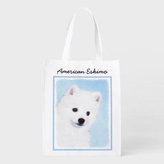 Amerikanische Eskimohundemalerei - niedliche Wiederverwendbare Einkaufstasche