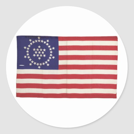 Amerikanische Flagge mit 48 Sternen Whipple Runder Sticker