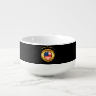 Amerikanische Nationsflagge mit einem Goldrahmen Große Suppentasse