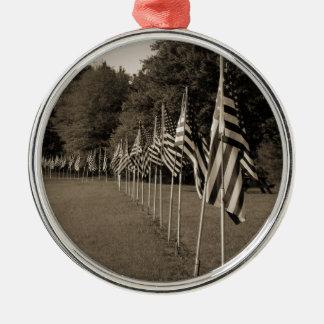 Amerikanische Veteranen-Flaggen Silbernes Ornament