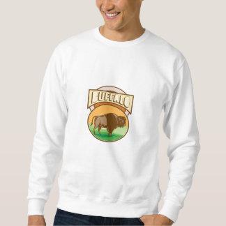 Amerikanischer Bison-Büffel-Oval-Holzschnitt Sweatshirt