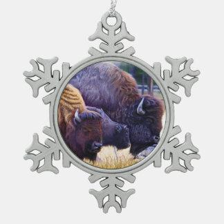 Amerikanischer Bison-Familie Schneeflocken Zinn-Ornament