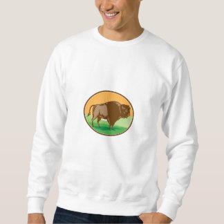 Amerikanischer Bison-Oval-Holzschnitt Sweatshirt