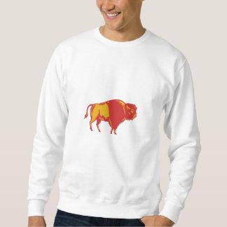 Amerikanischer Bison-Seiten-Holzschnitt Sweatshirt