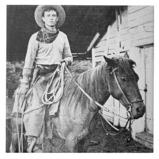 Amerikanischer Cowboy in Kansas, c.1880 (b/w Foto) Fliese