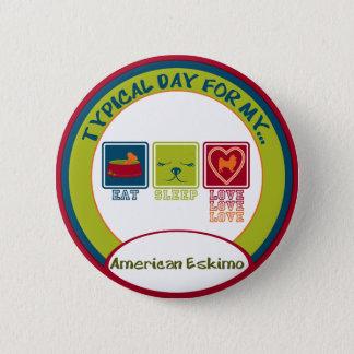 Amerikanischer Eskimo Runder Button 5,7 Cm