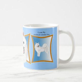 Amerikanischer Eskimohund mit blauem Rahmen Kaffeetasse
