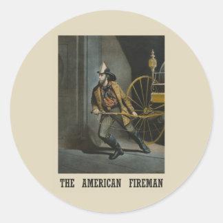 Amerikanischer Feuerwehrmann Runder Aufkleber