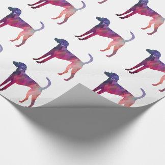 Amerikanischer Foxhound Geo Muster-Silhouette-Rosa Geschenkpapier