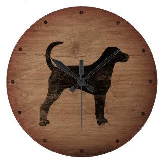 Amerikanischer Foxhound-Silhouette rustikal Große Wanduhr