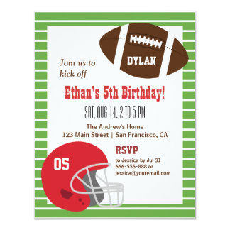 Amerikanischer Fußball-Kindergeburtstag-Party 10,8 X 14 Cm Einladungskarte