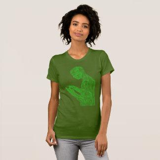 Amerikanischer Gebets-Frauen (Olive mit Neongrün) T-Shirt
