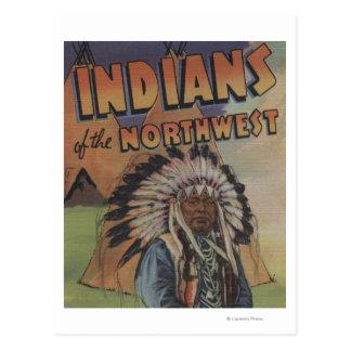 Amerikanischer Ureinwohner des Nordwestens - Postkarte