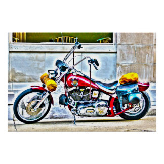 Amerikanisches Motorrad außerhalb Café HDR-Plakats Poster