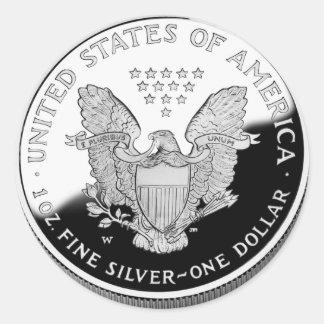 Amerikanisches silbernes Eagle 1 Dollar Runder Aufkleber