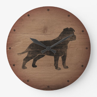Amerikanisches Staffordshire-Terrier-Silhouette Große Wanduhr