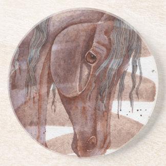 Amethyst Pferd auf Schokoladen-Wäsche Sandstein Untersetzer
