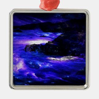 Amethyst Saphir-Inder-Träume Quadratisches Silberfarbenes Ornament