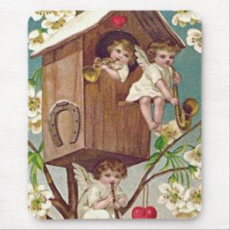 Amor-Blumenbirdhouse-Herz-Hufeisen Mauspad