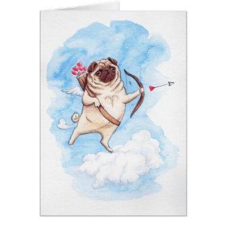 Amor-Mops Valentine Karte