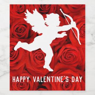 Amor und -ROTE ROSEN des Valentines Tages Weinetikett