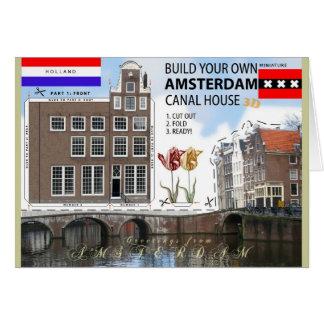 Amsterdam-Kanal-Haus-Schnitt und Falten-Foto-Karte Grußkarte