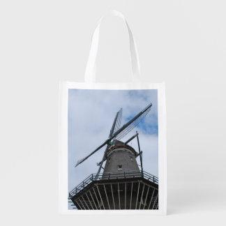 Amsterdam-Windmühle mit blauem Himmel Wiederverwendbare Tragetaschen